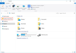 creative cloud file explorer shortcut