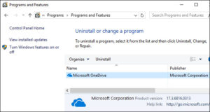 uninstall microsoft onedrive windows 10