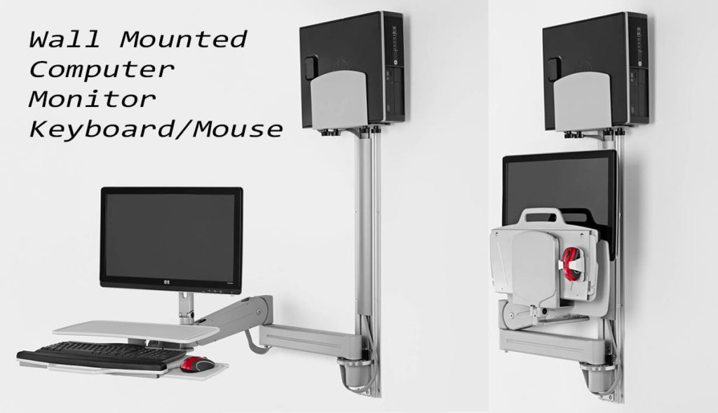 wall mounted computer monitor keyboard mouse