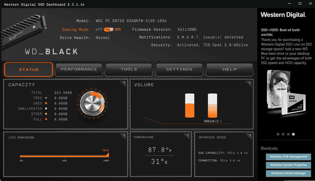 wd black ssd dashboard