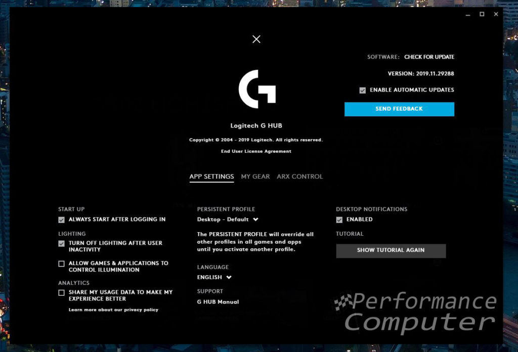 logitech g hub software app settings