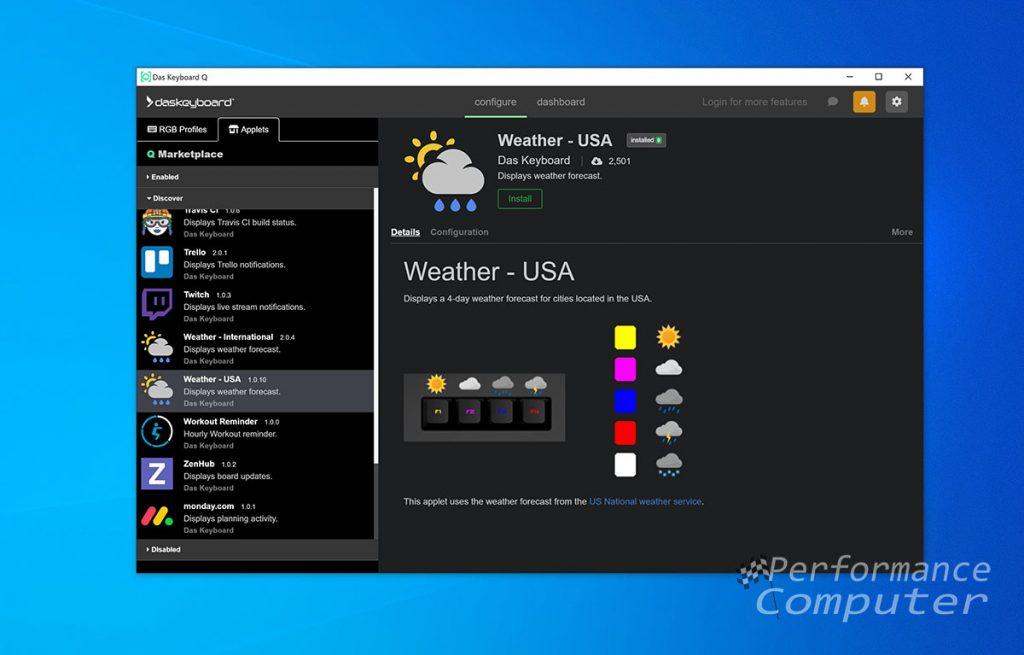 das keyboard q software weather app