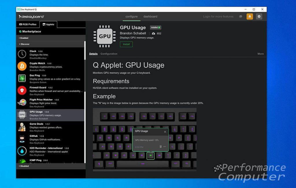 das keyboard q software gpu usage app